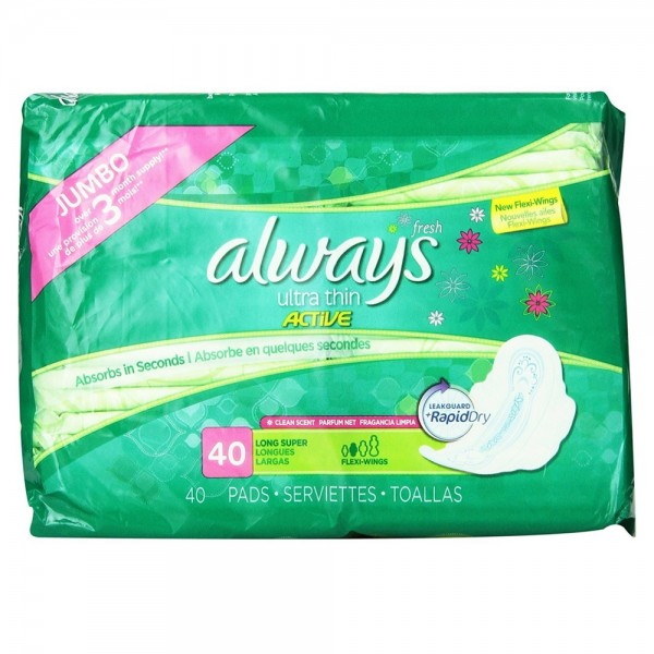 Always Fresh Ultra Thin Pads with Flexi Wings Long Super, Fresh Scent 40  Each
