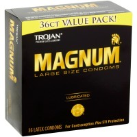 TROJAN Magnum Lubricated Latex Large Size Condoms, 36 ea [022600642374]