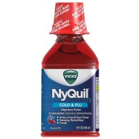 Vicks Nyquil Cold & Flu Nighttime Relief Liquid, Cherry Flavor 8 oz [323900014251]
