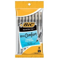 Bic Xtra-Comfort Round Stic Grip Medium Point Ball Pen, Black 8 ea [070330137288]