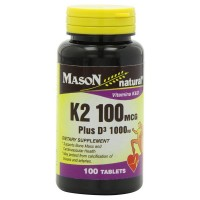 Mason Natural K2 100 mcg Plus D3 1000 IU Tablets 100 ea [311845162618]