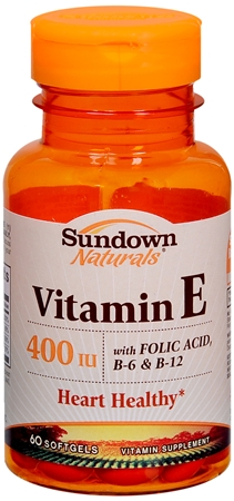 Sundown Vitamin E 400 IU Softgels With Folic Acid, B-6 and B-12 60 Soft Gels [030768006709]