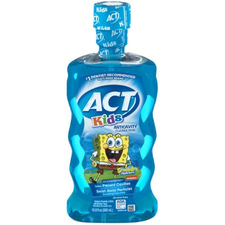 ACT Kids Anticavity Fluoride Rinse Ocean Berry 16.90 oz [041167093504]