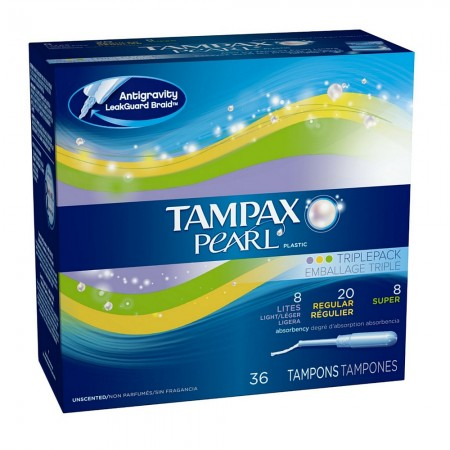 Tampax Pearl Plastic Triple Pack Tampons, Unscented Assorted 36 ea [073010001305]