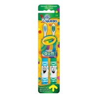 GUM Crayola Toothbrushes Pip-Squeaks Ultrasoft 2 ea Color may vary  [070942125611]