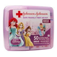 JOHNSON & JOHNSON Safe Travels 50 Essential Items First Aid Kit, Disney Princess 1 ea [381371161133]