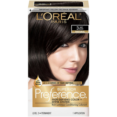 L'Oreal Paris Superior Preference Permanent Hair Color, 3 Soft Black 1 ea [071249253021]