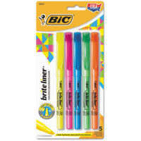 Bic Brite Liner Chisel Tip Fluorescent Highlighter, Assorted Colors 5 ea [070330908376]