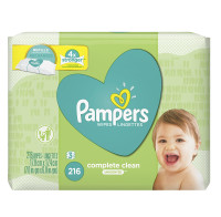 Pampers Complete Clean Wipes Refill, Unscented, 3 Pack 216 ea [037000755340]
