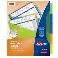 Avery Big Tab Insertable Plastic Dividers with Pockets 5 ea [072782119027]