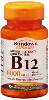 Sundown Naturals Super Potency Sublingual B-12 6000 mcg Tablets 30 Tablets [030768185657]