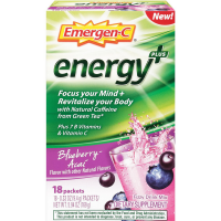 Emergen-C Energy+ Fizzy Drink Mix Packets with Caffeine, Blueberry-Acai 18 ea [076314510184]
