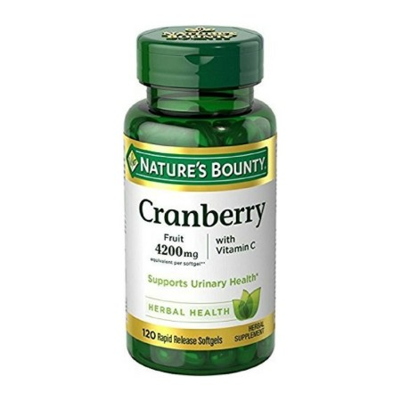 Nature's Bounty Cranberry Fruit 4200 mg, Plus Vitamin C Softgels, 120 ea [074312043499]
