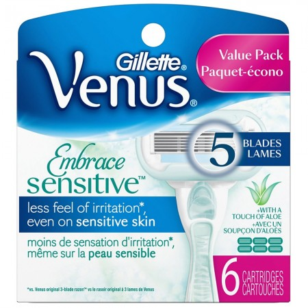 Gillette Venus Embrace Sensitive Women's Razor Refill Cartridges 6 ea [047400657762]