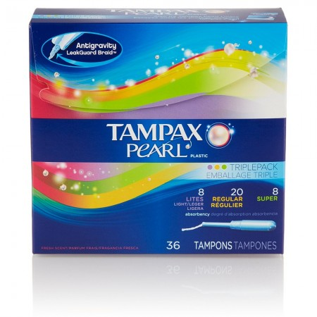 Tampax Pearl Plastic Triple Pack Tampons, Fresh Scent, Assorted 36 ea [073010565418]