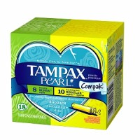 Tampax Pearl Compak Duopack Plastic Regular and Super Tampons Unscented 18 Each [073010013452]