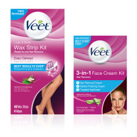 VEET Hair Remover Kit With Wax Strips For Leg & Body (40 cnt) and 3-in-1 Face Cream (2 x 1.69oz), Sensitive Formula 1 ea [191897441172]