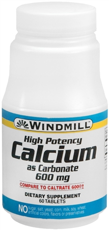 Windmill Calcium Carbonate 600 mg Tablets 60 Tablets [035046000646]