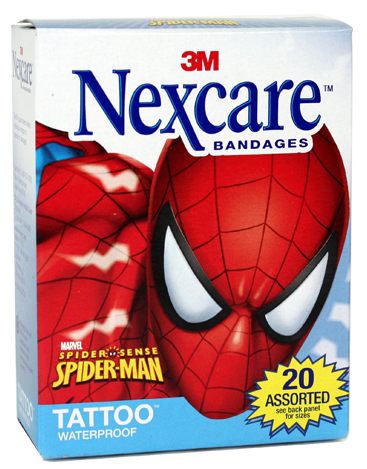 Nexcare Tattoo Waterproof Bandages Spider Man Assorted Sizes 20 Ea
