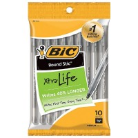 Bic Round Stic Xtra Life Medium Ballpoint Pen, Black Ink 10 ea [070330201231]
