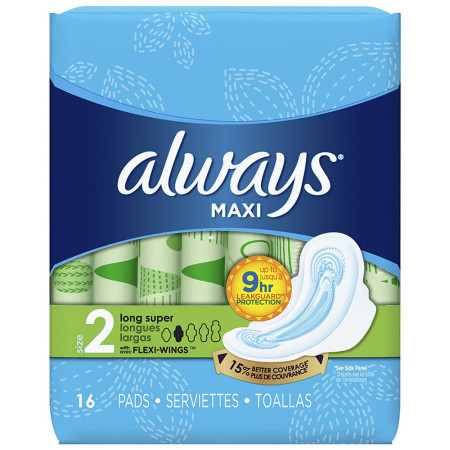 Always Maxi Super Pads With Wings, Size 2, Unscented 16 ea [037000305620]