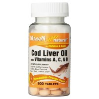 Mason Natural Cod Liver Oil Chewable Tablets, Orange Flavor 100 ea [311845136312]