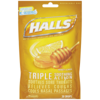 Halls Triple Soothing Action Cough Drops, Honey-Lemon 30 ea [312546051171]