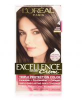 L'Oreal Paris Excellence Triple Protection Permanent Hair Color Creme, Dark Brown [4] 1 ea [071249210529]