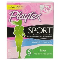 Playtex Sport Unscented Super Absorbency Tampons 18 ea [078300081111]