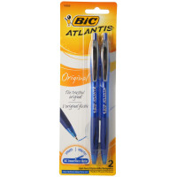 Bic Atlantis Retractable Medium Ballpoint Pen, Blue Ink 2 ea [070330143661]