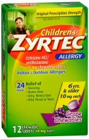 Zyrtec Children's Allergy 10 mg Chewable Tablets Grape Flavor 12 Tablets [312547204194]