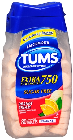 TUMS E-X Tablets Sugar Free Orange Cream 80 Tablets [307667390704]