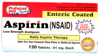Aspirin 81mg [Low Dose] Enteric Safety Coated tablets 120 ea [017714121129]
