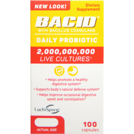 Bacid Probiotic with Bacillus Coagulans for Digestive Health, 100 Capsules [363736000097]