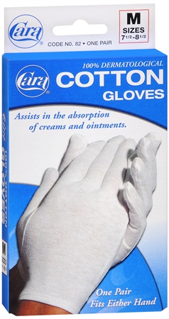 Cara 100% Dermatological Cotton Gloves Medium 1 Pair [038056000828]