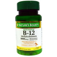 Nature's Bounty B-12 1000 mcg Microlozenges Natural Cherry Flavor 60 ea [074312719509]
