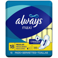 Always Maxi Regular With Wings, Unscented Pads 18 ea [037000305637]