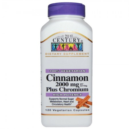 21st Century Cinnamon 2000 mg Per Serving Plus Chromium Vegetarian Capsules 120 ea [740985273838]