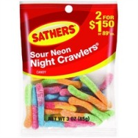 Sathers Sour Neon Night Crawlers 12 pack (3oz per pack)   [075602101271]