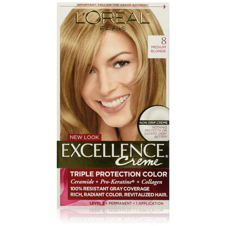 L'Oreal Paris Excellence Créme Permanent Hair Color, 8 Medium Blonde 1 ea [071249210697]