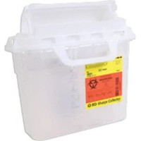 BD 305551 - 5.4qt Counter-Balanced Door Sharps Collector 10.75'' x 12'' x 4.5'', Clear - 1 ea  [382903055517]