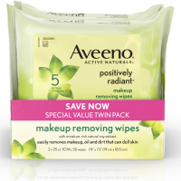AVEENO Positively Radiant Cleansing Makeup Removing Wipes, Twin Pack 50 ea [381371179695]