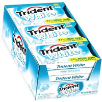 Trident White Sugar Free Gum, 16 Pieces Per Pack, Wintergreen 9 ea [012546076227]