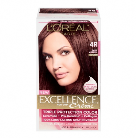 L'Oreal Paris Excellence Creme Haircolor, Dark Auburn [4R] (Cooler) 1 ea [071249210536]