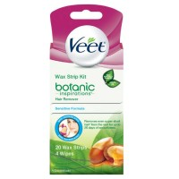 VEET Ready to Use Wax Strips Hair Remover for Body, Bikini & Face 20 ea [062200850151]