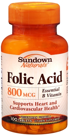 Sundown Folic Acid 800 mcg Tablets 100 Tablets [030768006761]
