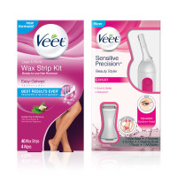 VEET Hair Remover Kit With Leg & Body Cold Wax Strips (40cnt) And Sensitive Precision Trimmer for Eyebrows, Facial Hair, Bikini Line, And Underarms	 [191897193767]