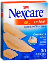 Nexcare Active Extra Cushion Bandages Assorted 30 Each [051131995116]