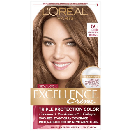 L'Oreal Paris Excellence Creme Triple Protection Hair Color, [6G] Light Golden Brown 1 ea [071249210611]