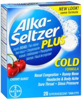 Alka-Seltzer Plus Cold Formula Effervescent Tablets Cherry Burst 20 Tablets [016500537588]